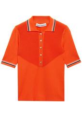 Paco Rabanne Woman Paneled Ribbed-knit Polo Shirt Bright Orange