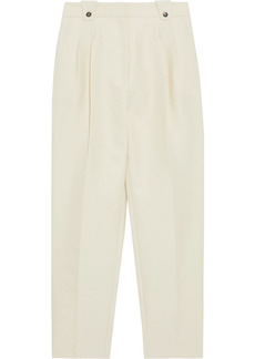 Paco Rabanne Woman Pleated Cotton-blend Tapered Pants Cream