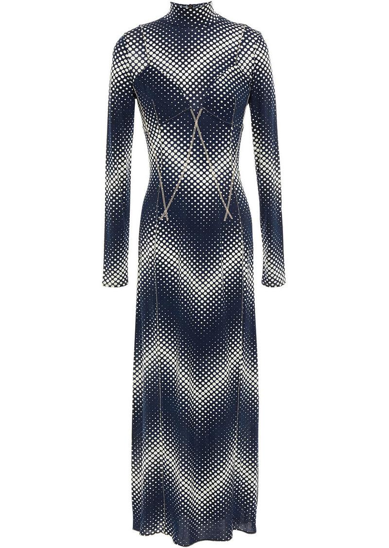 Paco Rabanne Woman Polka-dot Stretch-jersey Midi Dress Navy