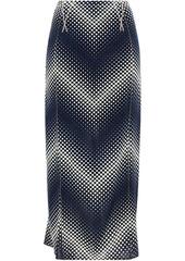 Paco Rabanne Woman Polka-dot Stretch-jersey Midi Skirt Navy