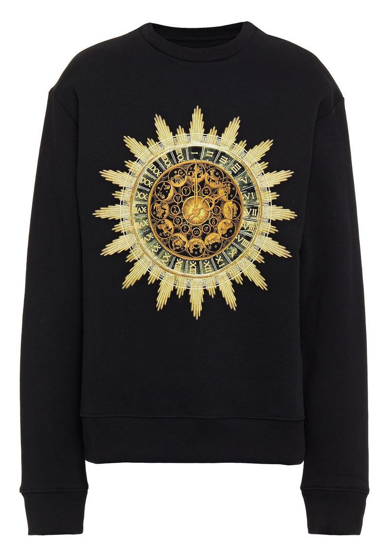 Paco Rabanne Woman Printed French Cotton-terry Sweatshirt Black