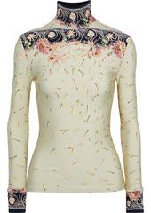 Paco Rabanne Woman Printed Satin-jersey Turtleneck Top Beige