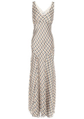 Paco Rabanne Woman Printed Satin Maxi Dress Light Brown
