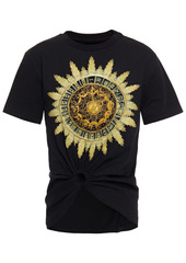 Paco Rabanne Woman Ring-embellished Printed Cotton-jersey T-shirt Black