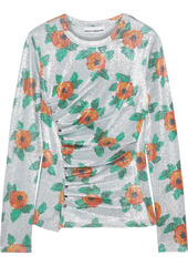 Paco Rabanne Woman Ruched Floral-print Stretch-lamé Top Silver