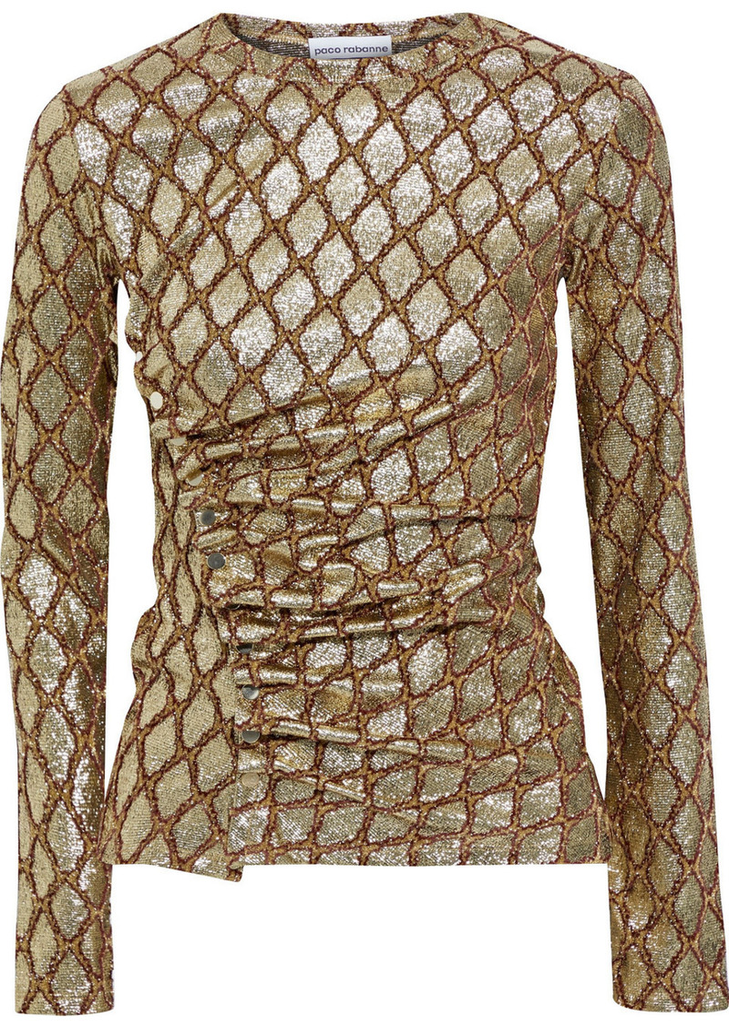 Paco Rabanne Woman Ruched Lamé-jacquard Top Gold
