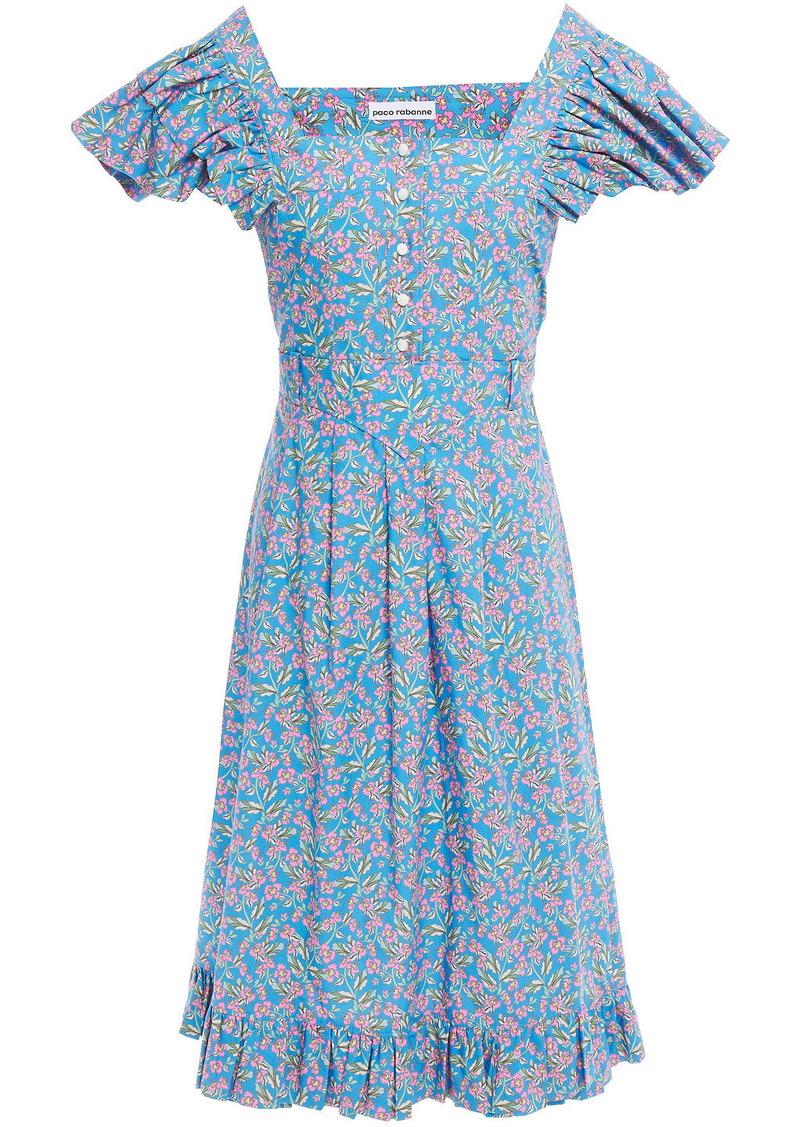 Paco Rabanne Woman Ruffle-trimmed Floral-print Cotton-poplin Dress Azure