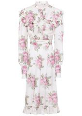 Paco Rabanne Woman Ruffle-trimmed Floral-print Satin Dress White