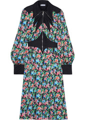 Paco Rabanne Woman Satin Twill-paneled Floral-print Crepe De Chine Dress Black