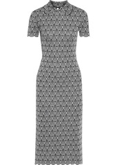 Paco Rabanne Woman Scalloped Metallic Jacquard-knit Dress Silver
