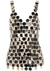 Paco Rabanne Woman Sequin-embellished Chainmail Top Black