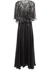 Paco Rabanne Woman Sequin-embellished Chiffon And Satin Maxi Dress Black