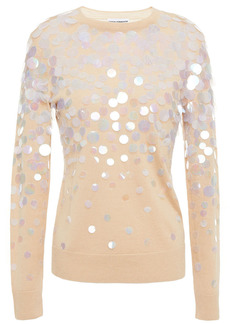 Paco Rabanne Woman Sequin-embellished Merino Wool And Silk-blend Sweater Beige