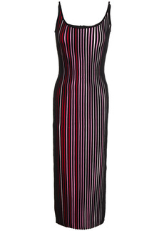 Paco Rabanne Woman Striped Ribbed Cotton Midi Dress Black