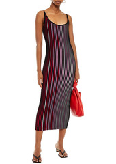 Paco Rabanne Woman Striped Ribbed Cotton Midi Dress Black