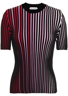 Paco Rabanne Woman Striped Ribbed Cotton Top Black