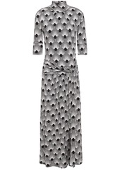 Paco Rabanne Woman Twist-front Printed Stretch-jersey Turtleneck Midi Dress Gray