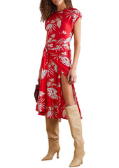 Paco Rabanne Woman Wrap-effect Ruched Floral-print Stretch-jersey Midi Dress Tomato Red