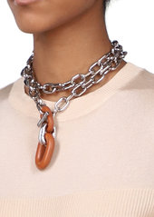 Paco Rabanne XL Contrasting Link Silver-Tone Necklace
