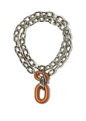 Paco Rabanne XL Link leather-pendant necklace