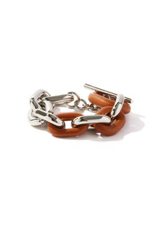 Paco Rabanne XL Link metal and leather bracelet