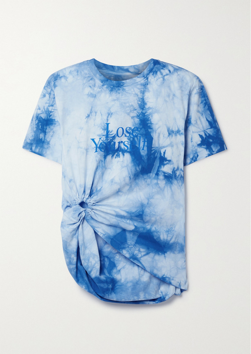 Paco Rabanne Peter Saville Knotted Printed Tie-dyed Cotton-jersey T-shirt