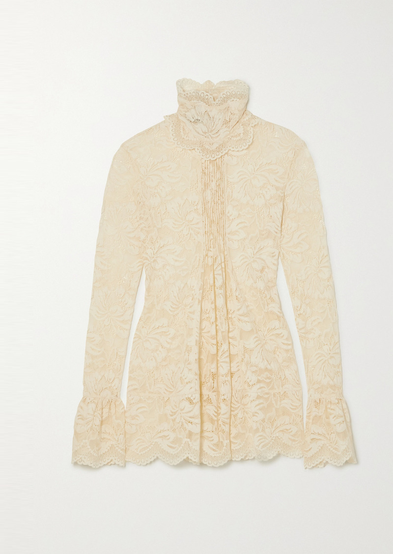 Paco Rabanne Pintucked Scalloped Lace Blouse