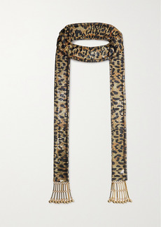 Paco Rabanne Pixel Tasseled Leopard-print Chainmail Scarf