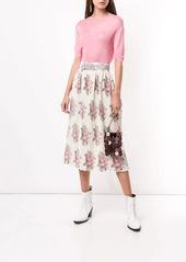 Paco Rabanne pleated floral print midi skirt