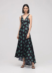 Paco Rabanne Printed Light Satin Long Dress