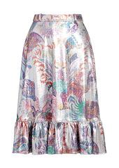 Paco Rabanne Printed Lurex Ruffle-Hem Skirt