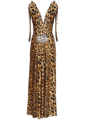 Paco Rabanne Printed Shiny Viscose Jersey Long Dress