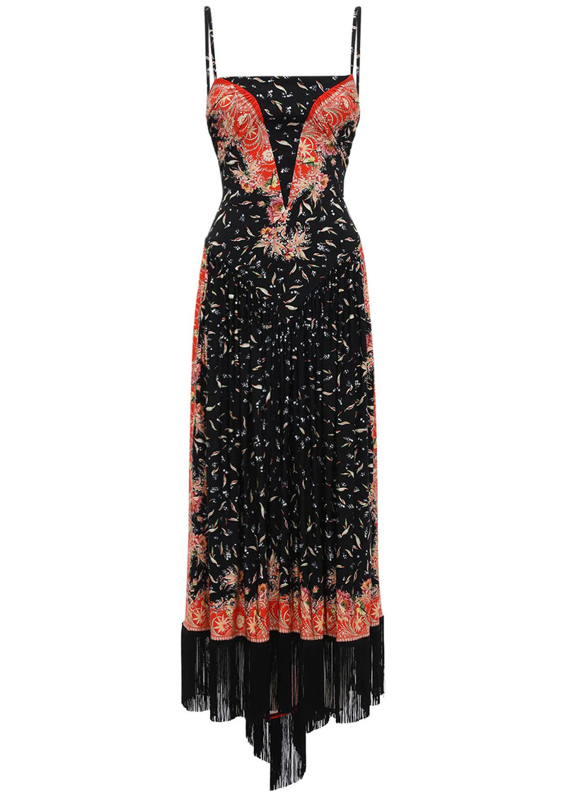 Paco Rabanne Printed Stretch Jersey Long Dress