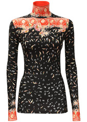 Paco Rabanne Printed Stretch Jersey Turtleneck Top