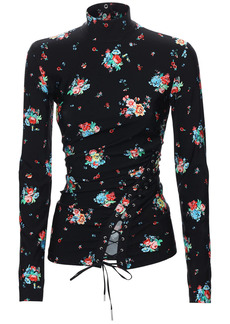 Paco Rabanne Printed Turtleneck Top W/ Lace-up Detail