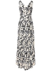 Paco Rabanne Printed Viscose Blend Long Dress