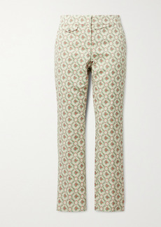 Paco Rabanne Quilted Cotton-blend Floral-jacquard Straight-leg Pants