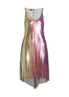 Paco Rabanne Rainbow Mesh Asymmetric Mini Dress