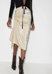 Paco Rabanne ruched-detailing asymmetric midi skirt