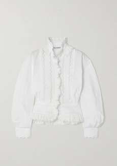 Paco Rabanne Ruffled Broderie Anglaise Cotton-poplin Shirt
