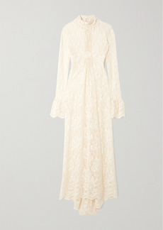 Paco Rabanne Ruffled Lace Turtleneck Maxi Dress