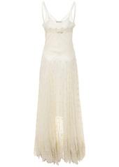 Paco Rabanne Silk Chiffon Sheer Long Dress W/ Lace