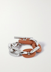 Paco Rabanne Silver-tone And Leather Bracelet