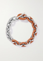 Paco Rabanne Silver-tone And Leather Necklace