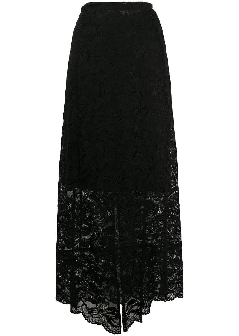 Paco Rabanne split-hem lace midi skirt