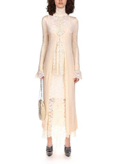 Paco Rabanne Stretch Lace Jersey High Neck Long Dress