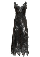 Paco Rabanne Stretch Sequins & Lace Midi Dress