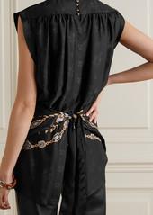 Paco Rabanne Tie-back Printed Satin Top