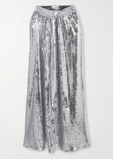 Paco Rabanne Tie-detailed Sequined Georgette Midi Skirt