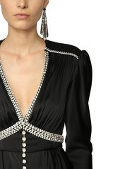 Paco Rabanne V Neck Satin Top W/ Crystals